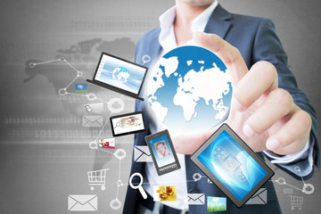 World Technology  In Hand  Of Businessman