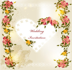 Beautiful wedding invitation card with lace heart and roses
