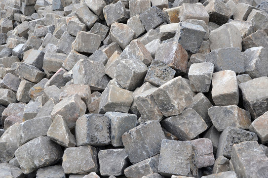 A pile of gray cobblestones