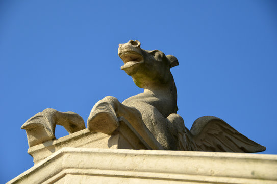 Part of a pegasus-sculpture made of sandstone