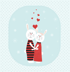 Two rabbits in love.