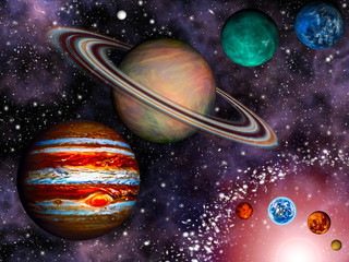 Wall Mural - 3D Solar System Wallpaper