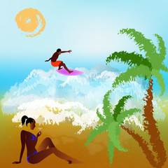 Happy rest on exotic tropical island. Abstract summer background