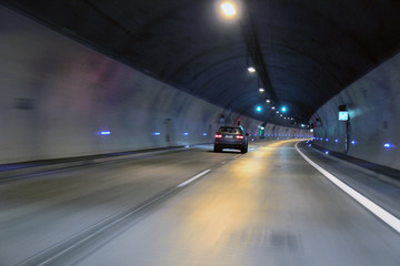 fast motion of the car in tunnel