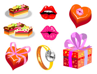 set of isolated images for Valentine's Day