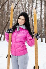 girl with a skis