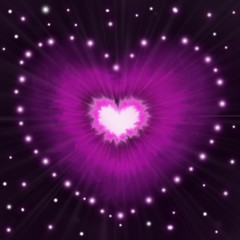 Abstract romantic background Valentine with glowing hearts