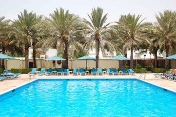 Swimming pool at the luxury hotel, Sharjah, UAE