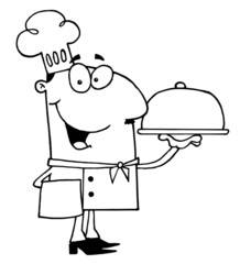 Clipart Illustration of an Outlined Serving Chef