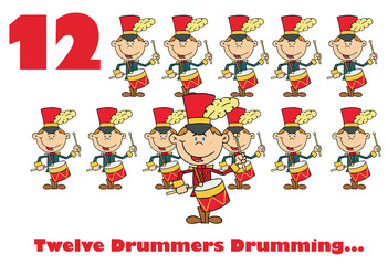 Red Number Twelve And Text By Twelve Drummers Drumming