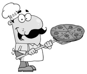 Grayscale Pizzeria Chef Holding A Pizza