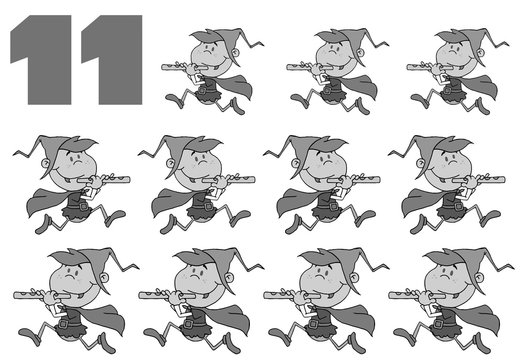 Black And White Number 11 By Eleven Pipers Piping
