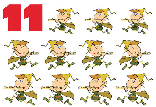 Red Number 11 By Eleven Pipers Piping