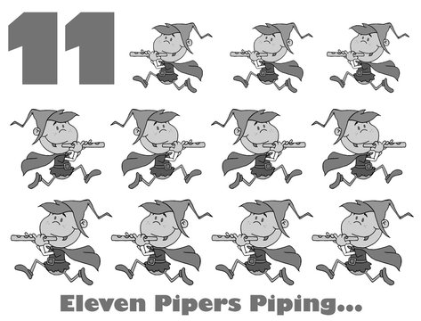 Black And White Number 11 And Text By Eleven Pipers Piping