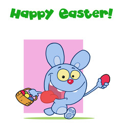 Happy Easter Greeting Above A Blue Rabbit Running With Eggs