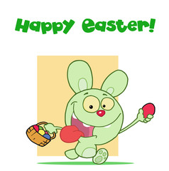 Happy Easter Greeting Above A Green Rabbit Running With Eggs