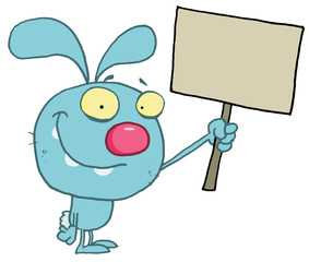 Happy Blue Rabbit Holding Up A Blank Sign