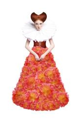 Red Hair Duchess. Retro Woman in Jabot. Renaissance. Fantasy