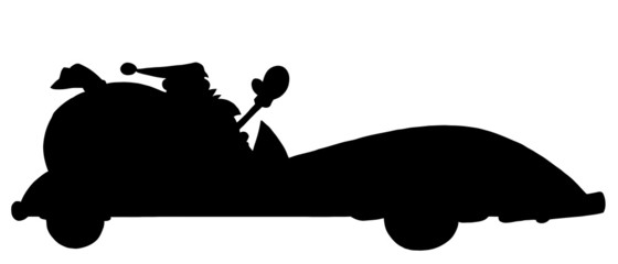 Solid Black Silhouette Of Santa Driving A Convertible