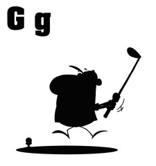 Silhouetted Male Golfer With Letters G