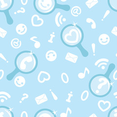 Vector internet search symbols seamless pattern background with