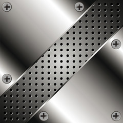 Background with metal plates and grid