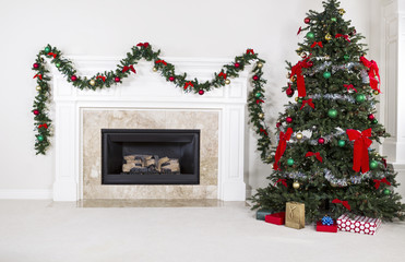 Gas Insert Fireplace in Use during Holidays