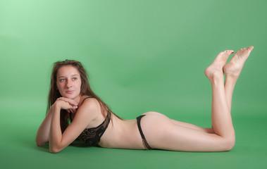 girl in brown underwear