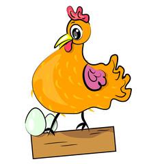 hen with eggs cartoon illustration.domestic bird