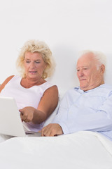 Focused aged couple using a laptop