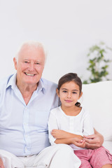 Granddaughter and grandfather portrait