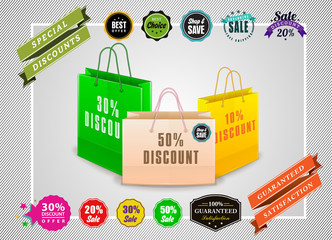 Vector shopping bags with promotional badges.