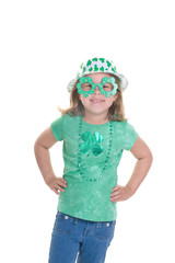 Adorable blond girl dressed for St. Patrick's Day