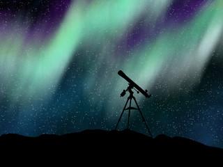 Silhouette telescope under the Aurora Borealis sky