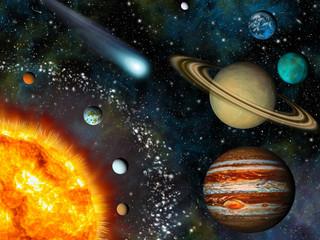 Wall Mural - Realistic 3D Solar System Wallpaper