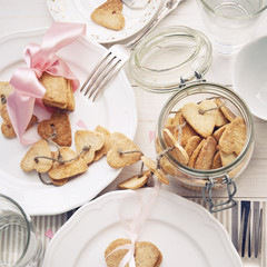 Cookies in the Shape of Heart on a White Wooden  Table