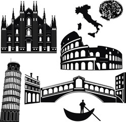 Italy 7 piece isolated vector
