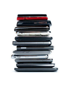 stack mobile phone on white background