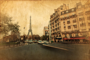 Ansicht vom Eiffelturm auf antiker Textur