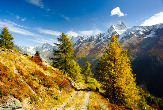 Bietschorn mountain peak in autumn with hiking trail