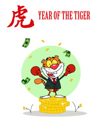 Successful Business Tiger On Coins, With Chinese Symbol And Text