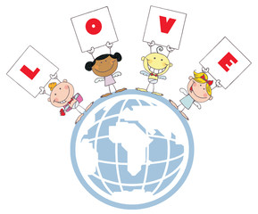 Stick Cupids Holding LOVE Signs On A Globe