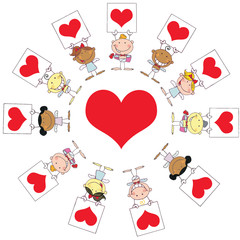 Stick Cupids Holding Heart Signs Around A Heart