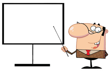 Businessman Pointing A Stick At A Blank Board