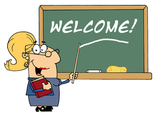 Blond Lady School Teacher Pointing To Welcome On A Chalkboard