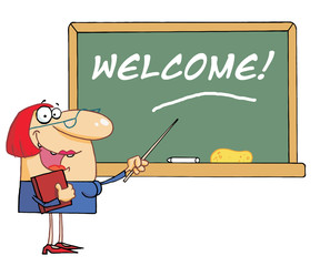 Woman Teacher Pointing To A Welcome Chalkboard