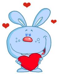 Romantic Blue Rabbit With Heart