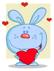 Happy Romantic Blue Rabbit With Heart