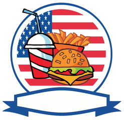Cartoon Hamburger Drink And French Fries In Front Of Flag Of USA
