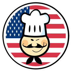 Winking Asian Chef Face Over An American Flag